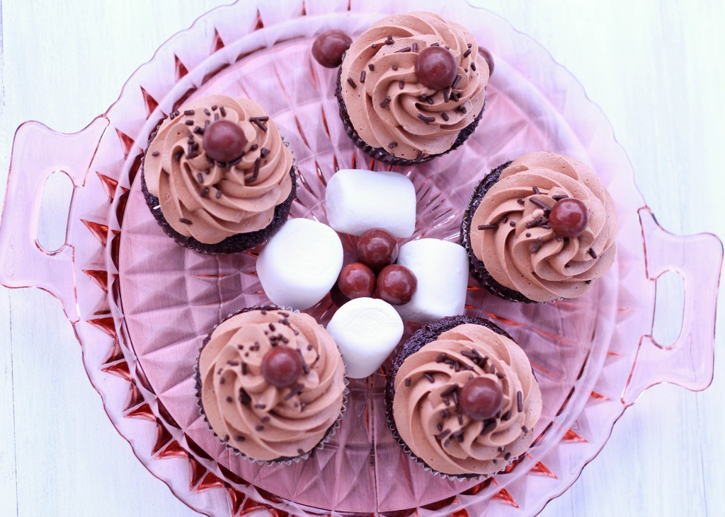 Chocolate cupcakes with malted frosting and toasted marshmallow ...